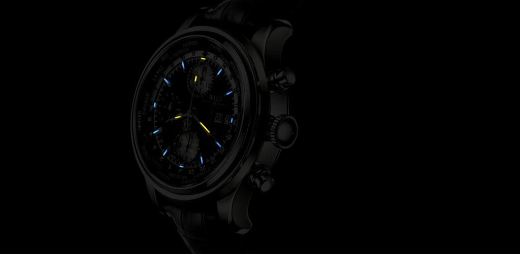 Ball Trainmaster Worldtime Chronograph at night